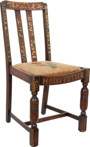 "Before she first put the chair up for chairty auction in 2002, Rowling ""refurbished"" it with Potter-themed inscriptions."