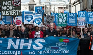 A demonstration in London against NHS cuts: 'If the entire NHS property portfolio were transparent and professionally managed, the value it would create would help to fund healthcare.'