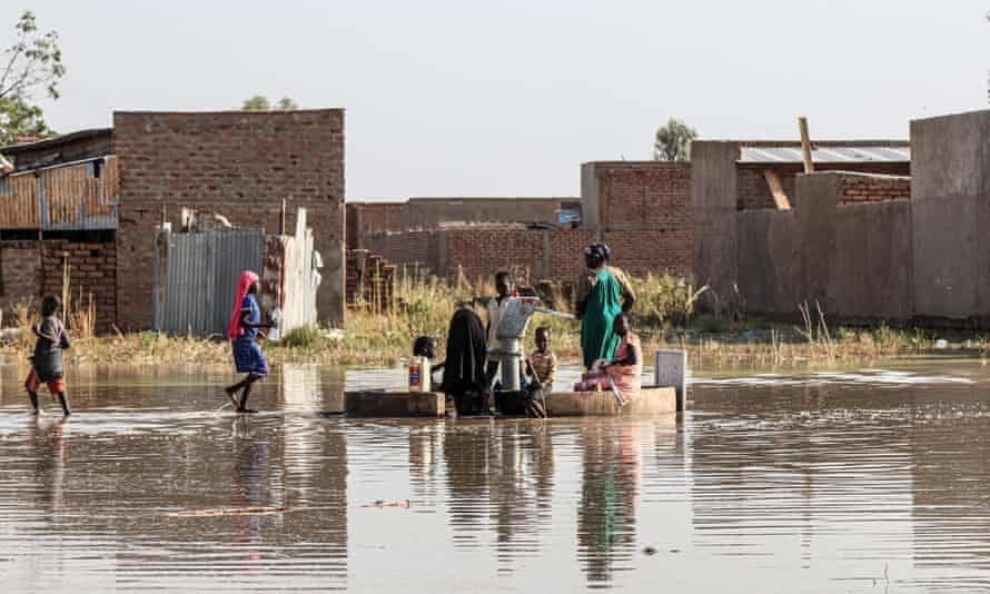 Flooding in Toukra, Chad. Flooding increased by 180% between 2015 and 2020.