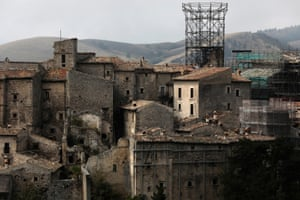 A metal frame support is all that was left of the Medici Tower after the 2009 earthquake hit Santo Stefano di Sessanio
