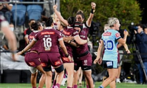 Queensland players celebrating the win