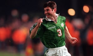 Denis Irwin celebrates after opening the scoring for Ireland against Belgium in the first leg.