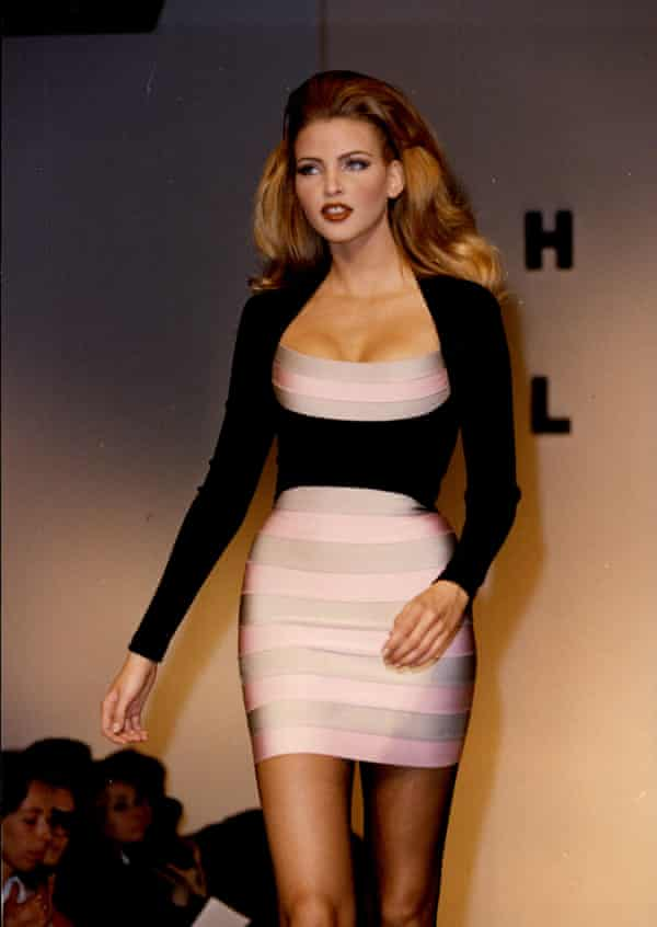 A model in a Hervé Léger design in 1992. His dresses followed female curves by running strips, panels and tubes around or diagonally across the body.