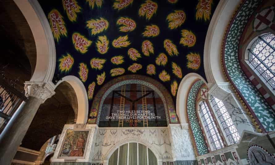 Tom Phillips's mosaic and marble decorative scheme completed in 2016 for the Chapel of St George and the English Martyrs at Westminster Cathedral, London