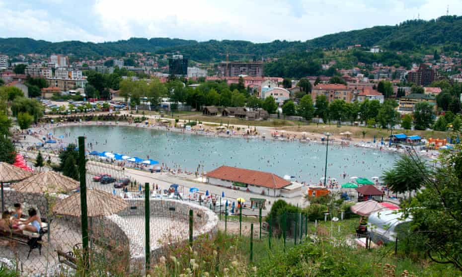 One of Tuzla's salt lakes, created by siphoning salt water from the ancient Pannonian Sea to the surface and keeping it at a stable level.