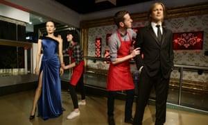 Waxworks of Angelina Jolie and Brad Pitt