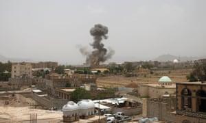 Smoke rises after an airstrike over Yemen.