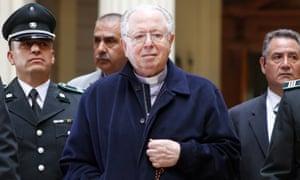 The Rev Fernando Karadima departs the court of appeals in Santiago, Chile, on 11 November 2015.