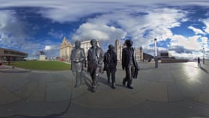 The recently unveiled statues of Sir Paul McCartney, George Harrison, Ringo Starr and John Lennon outside the Liver Building on the Liverpool waterfront