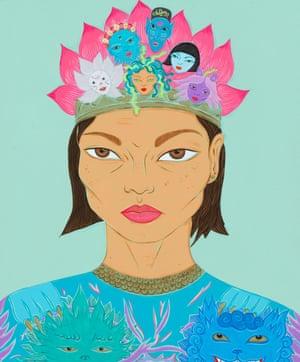Self-portrait with studio spirits, 2019 by Kate Beynon