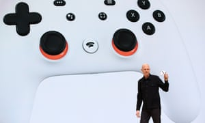 Google executive Phil Harrison debuts the new Stadia controller in San Francisco.