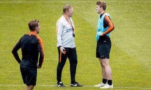 Ronald Koeman talks to Matthijs de Ligt. The defender plays for Ajax but Koeman says De Ligt will 'sign for a big club'.