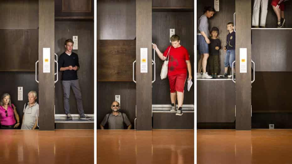 A series of images of people using the newly re-opened Paternoster lift at Stuttgart town hall