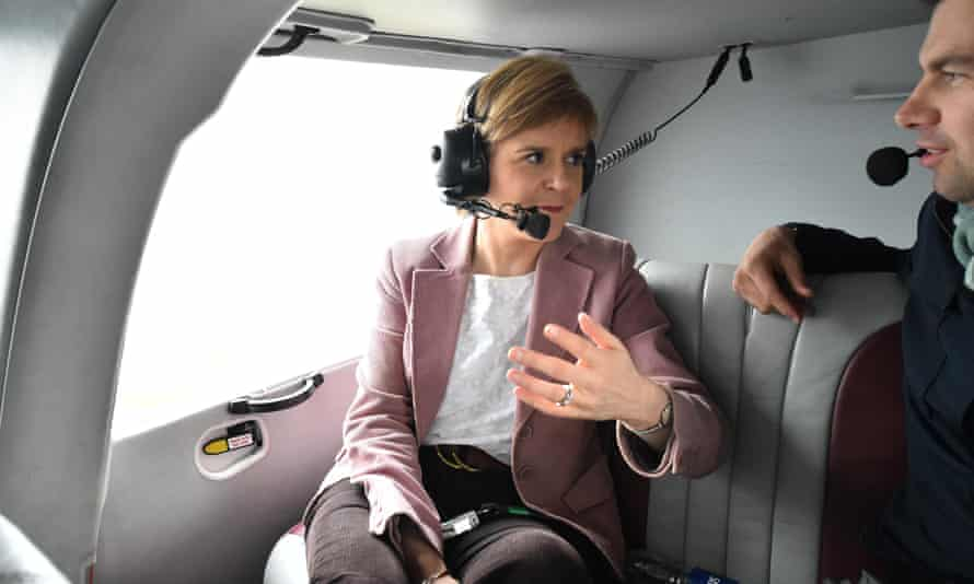 Nicola Sturgeon travels by helicopter as she campaigns in northern Scotland.