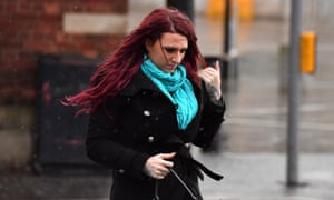 Jayda Fransen outside Belfast magistrates court.