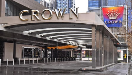 The entrance to the Crown Casino lies empty in Melbourne.