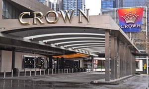 The entrance to the Crown casino in Melbourne lies empty today as its parent company Crown Resorts announced its full-year results