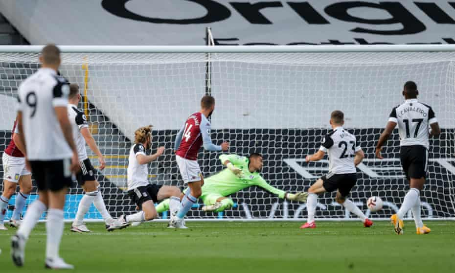 Conor Hourihane scores Aston VIlla's second goal in their 3-0 win at Craven Cottage.