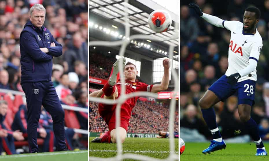 David Moyes has set up West Ham defensively, James Milner clears off the line for Liverpool and Tanguy Ndombele has felt José Mourinho's wrath.