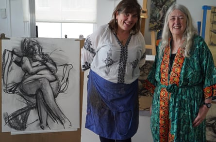 Artist Catherine Goodman, left, with Mary Beard in the studio where they relaxed to an audiobook about Charles Dickens.