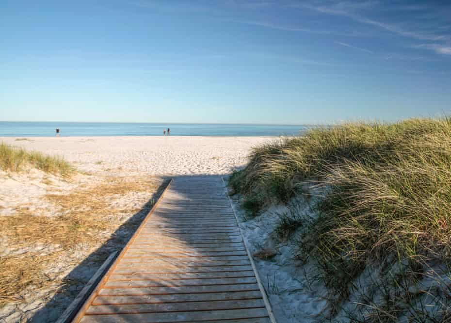 White sandy beach on Dueodde, the most southerly point of Bornholm, Denmark