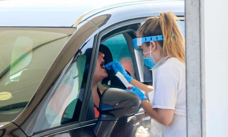 Samples are taken at a coronavirus testing facility in Leeds last week.