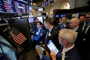 Traders on the floor at the New York Stock Exchange today