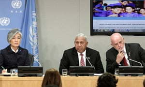 Josaia Voreqe Bainimarama (centre), prime minister of the Republic of Fiji at UN headquarters in New York