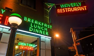 All-night diner in Greenwich Village, New York. New Yorkers dine out – day or night – on average 89 times a year according to a survey by Hostelworld.