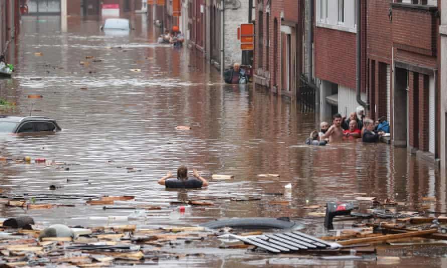 Floods in Liege, Belgium, on Thursday.