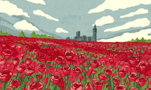 Eva Bee illo of red roses far from London