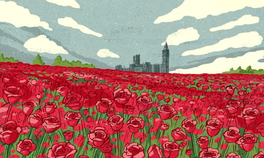 Eva Bee illo of red roses far from London
