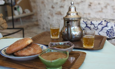 Argan nut butter, bread and mint tea, served up in Morocco.