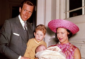 Princess Margaret, Lord Snowdon and Viscount Linley with Margaret's baby daughter Lady Sarah Armstrong-Jones