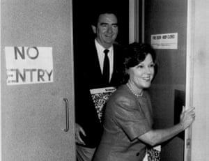 Lord mayor of Brisbane Sallyanne Atkinson with Queensland oremier of Queensland Mike Ahern in 1988.