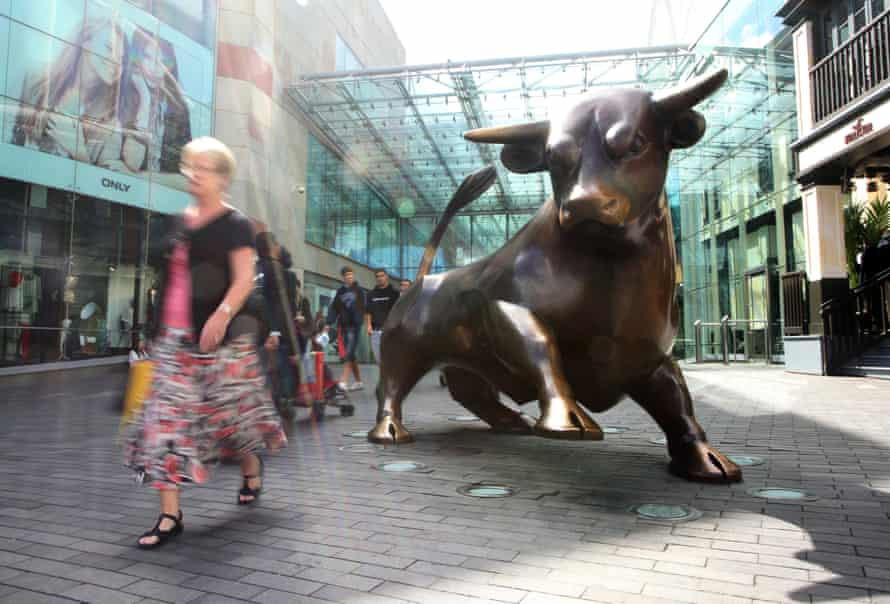 The bronze bull at the junction of New Street and High Street in Birmingham.