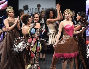 Models at the end of the Salon du Chocolat