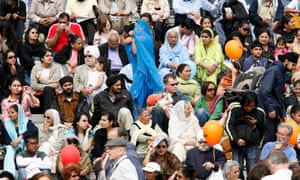 People gathered in Trafalgar Square in London to celebrate Vaisakhi, the Sikh new year