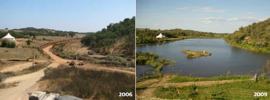 A composite image showing the Tamera site before reconstruction in 2006, and after in 2009.