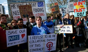 Junior doctors and supporters protest outside St Thomas' hospital, London, in April.