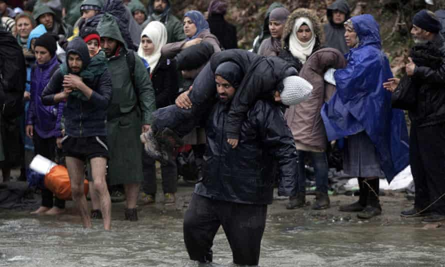 Desperate men, women and children had attempted to cross a river into Macedonia from their camp near the Greek village of Idomeni.