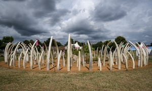 The tusk circle, symbolising the slaughter of elephants, at the Hampton Court flower show.