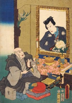 Ichikawa Danjuro VII conducting a Buddhist memorial service before a portrait of his deceased son, 1854.