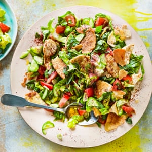 Fattoush - mixed herb and toasted bread salad.