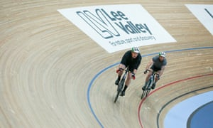 Two cyclists on the track at Lee Valley VeloPark