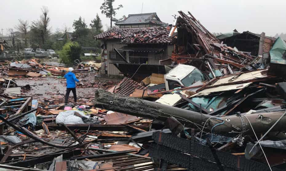 Damaged caused by typhoon Hagibis in Chiba Prefecture, east of Tokyo.
