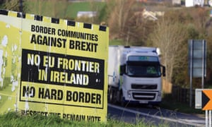 A weathered Border Communities Against Brexit billboard is seen close to the Letterkenny.