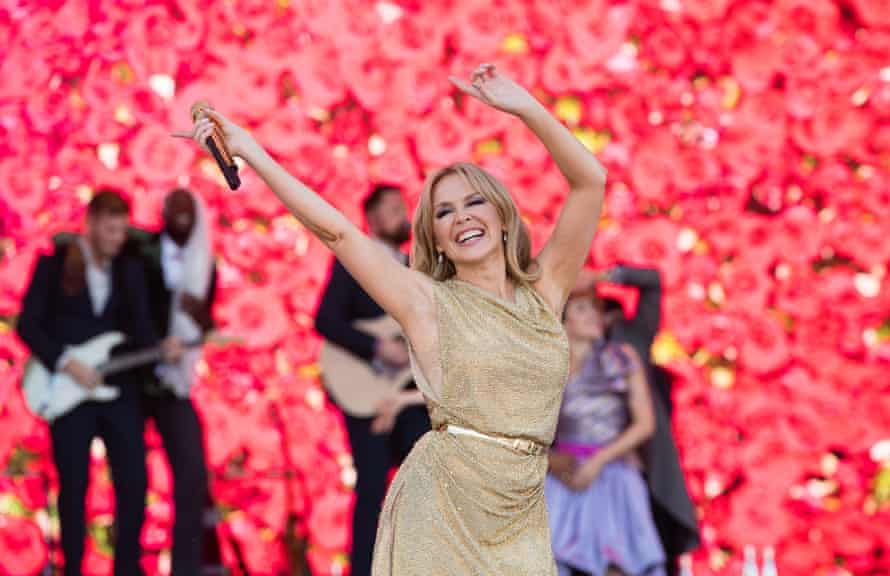 Kylie Minogue performs in the 'legends' slot on the Pyramid stage, 30 June 2019.