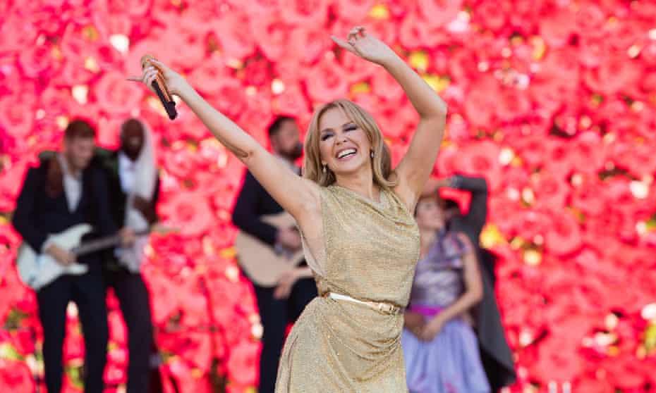Kylie Minogue on the Pyramid stage on Sunday at Glastonbury 2019.