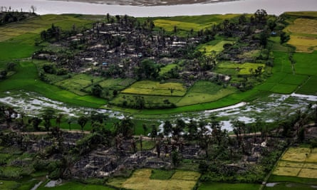 The remains of a burned Rohingya village near Maungdaw, north of Rakhine State